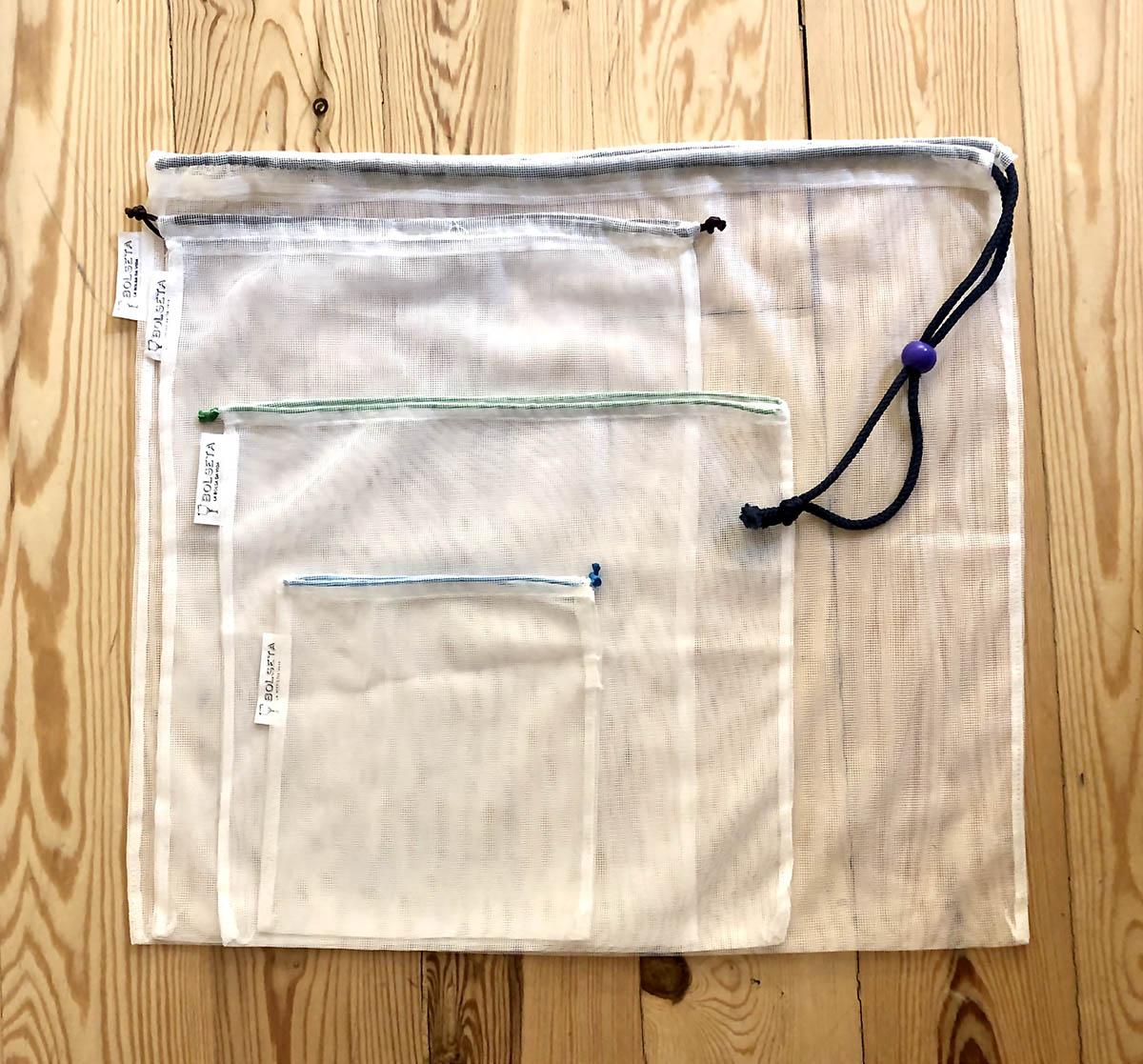 Tamaños variados bolsas reutilizables BOLSETA, hechas en Barcelona